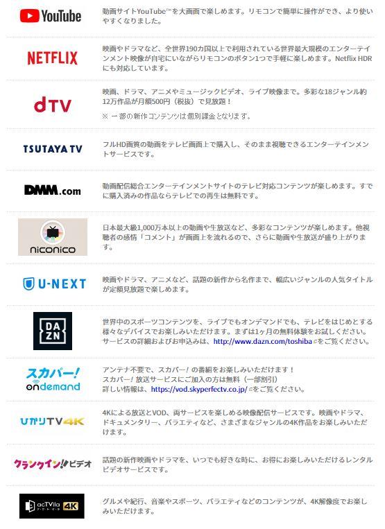 動画配信サービスがこのテレビ一つで楽しめる