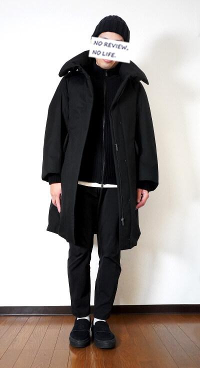 ユニクロ+Jのハイブリッドダウンコート(ウィメンズ)の着用イメージ 正面