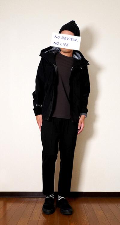 ユニクロユーヒートテックコットンクルーネックTシャツ(メンズ)とノースフェイスのオールマウンテンジャケット着用 前ジップ開け