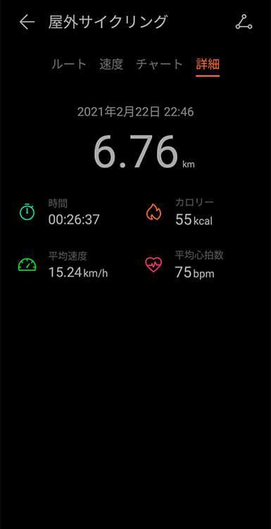 HUAWEI WATCH FITの屋外サイクリングモード(スマホ) 詳細