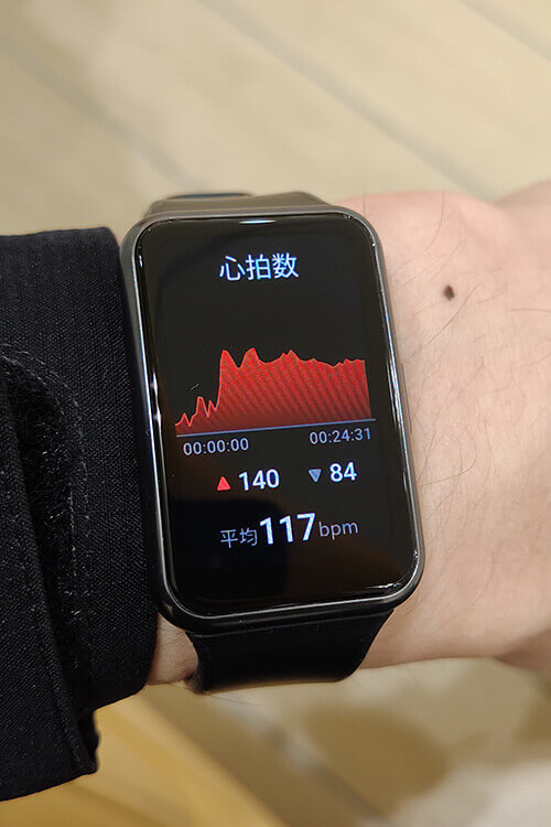 HUAWEI WATCH FITの屋外サイクリングモード 心拍数グラフ