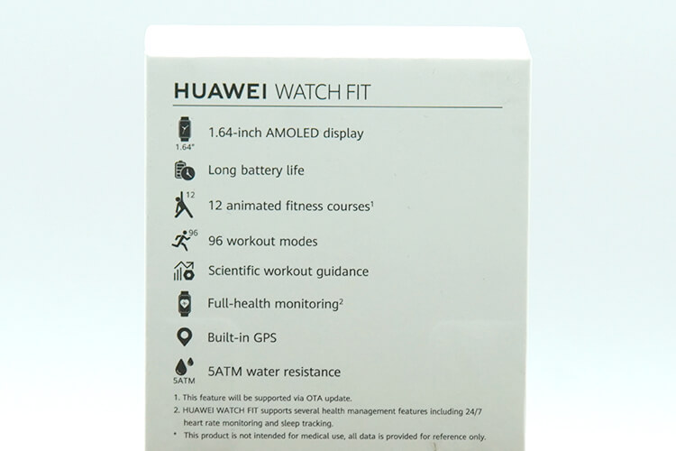 HUAWEI WATCH FITのパッケージ裏面